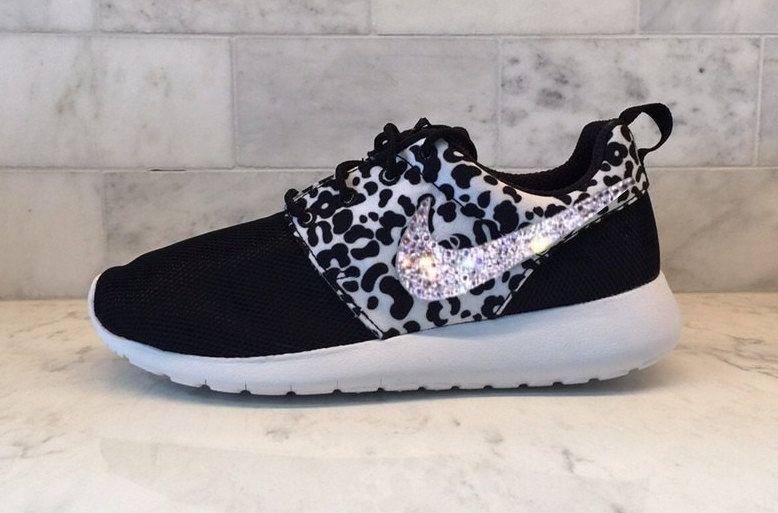 Swarovski Bling Black Cheetah Nike Roshe One Crystal by GoldHomeCouture on  Etsy d08b8f309be1