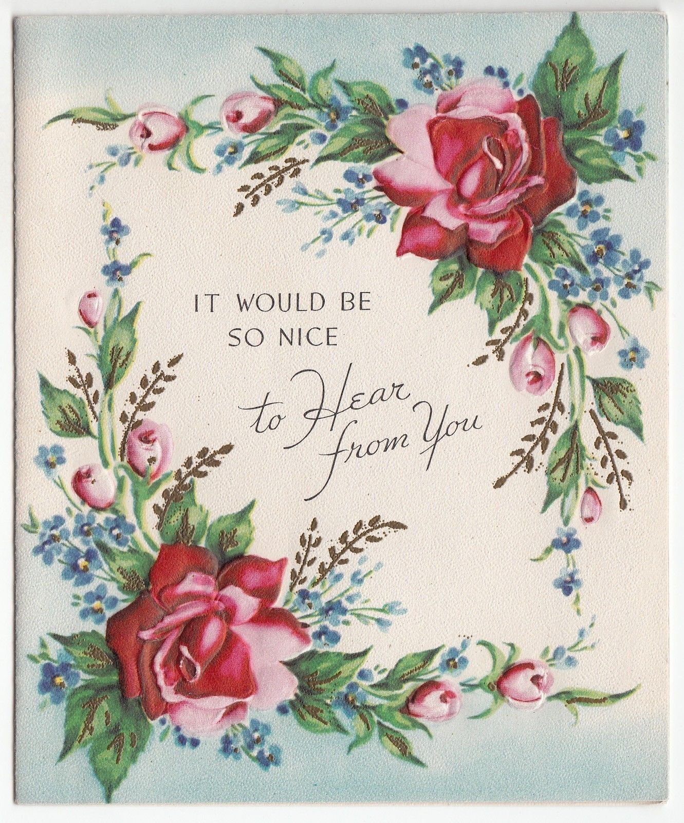 Vintage unused nice to hear from you rose greeting card ebay vintage unused nice to hear from you rose greeting card ebay kristyandbryce Image collections