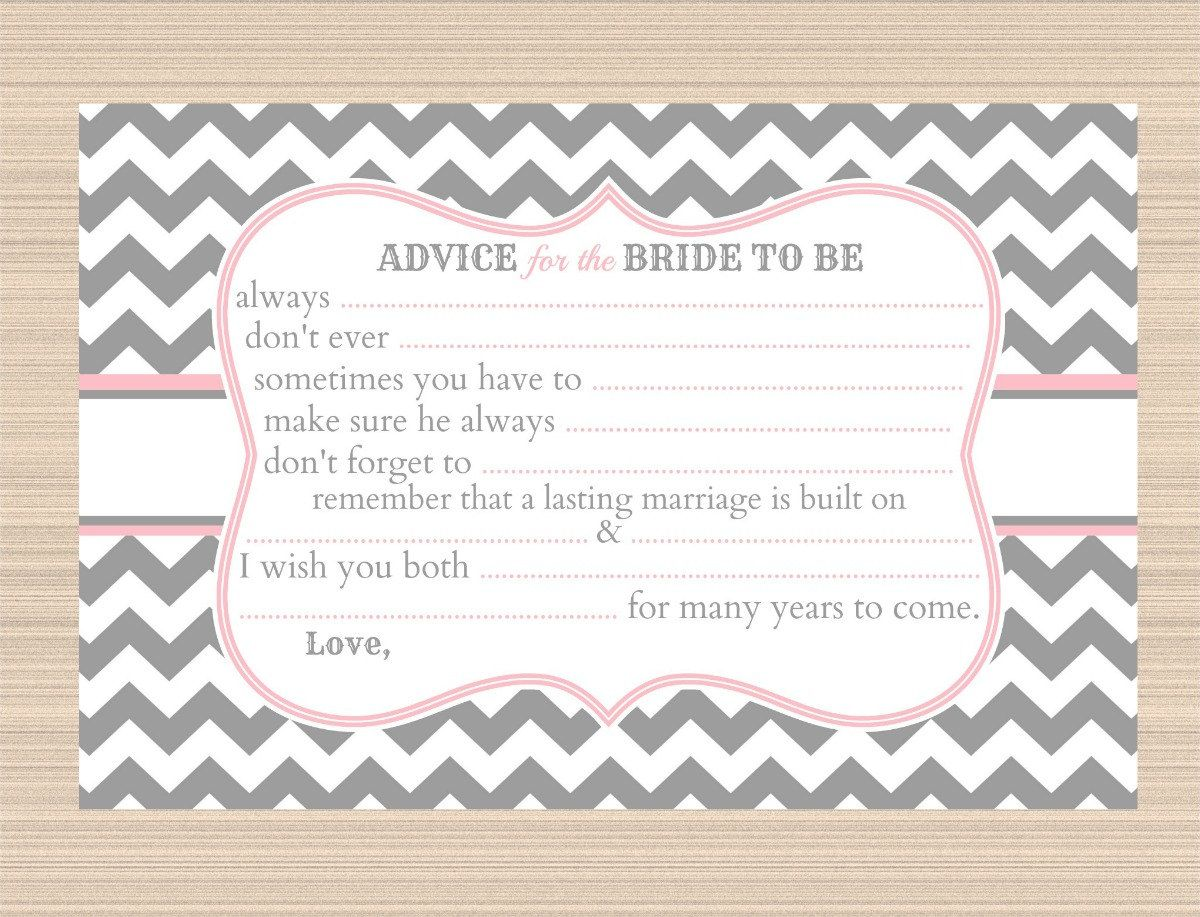 Advice for the Bride to Be Bridal Shower by PaperTreePrintables ...