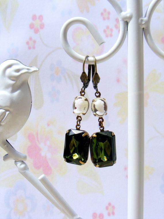 Vintage Cameo Earrings Olivine Green Vintage 1950's by Sweetystuff, £20.00