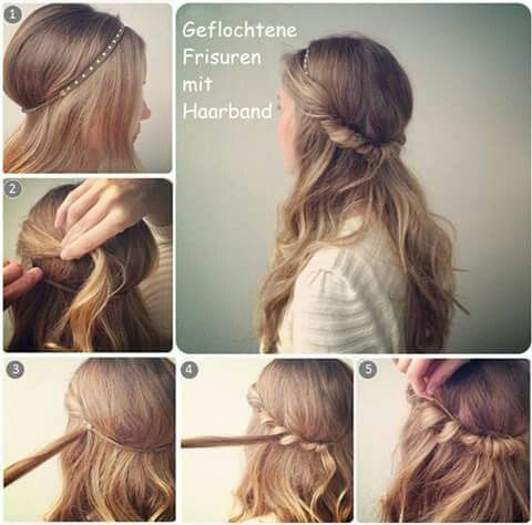 Braid With Hairband Put Back Hair Hairband Braid Braid Hairstyle Flechtfrisuren Frisuren Mit Zopf Frisur Hochgesteckt