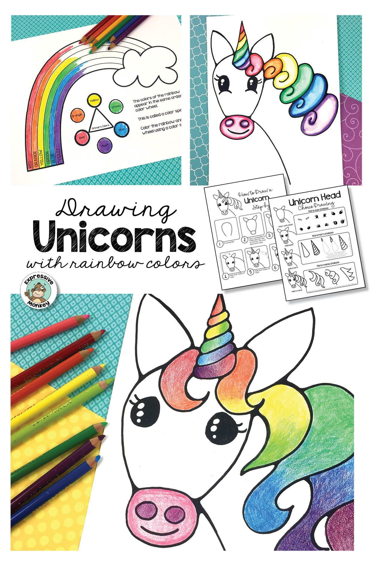 - Art Lesson - Unicorn Drawing With Rainbow Colors In 2020 Unicorn