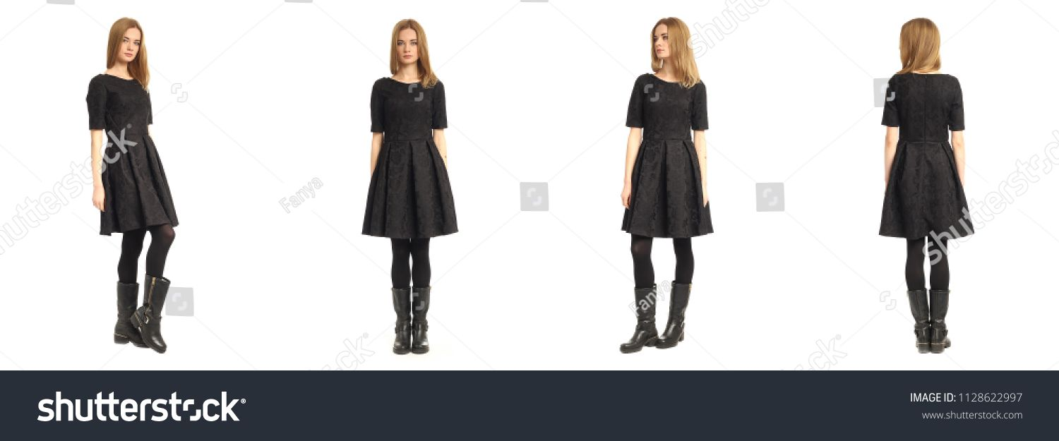 Young Woman In Black Dress And Boots Isolated Black Woman Young Isolated With Images Black Dress