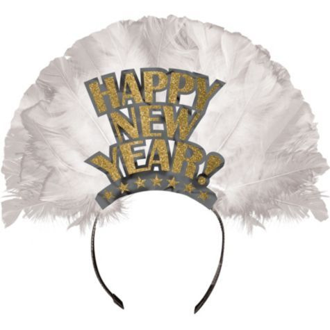 gold happy new year feather tiara party city