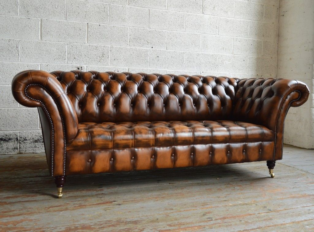Handmade Traditional Gold Antique Belmont Chesterfield Sofa. Chesterfield  Leather ...
