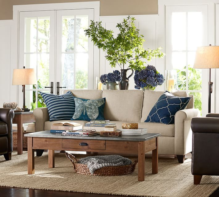 Pottery Barn Living Room With Carpet And Decorative Plant: Batik Bird Printed Lumbar Pillow Cover