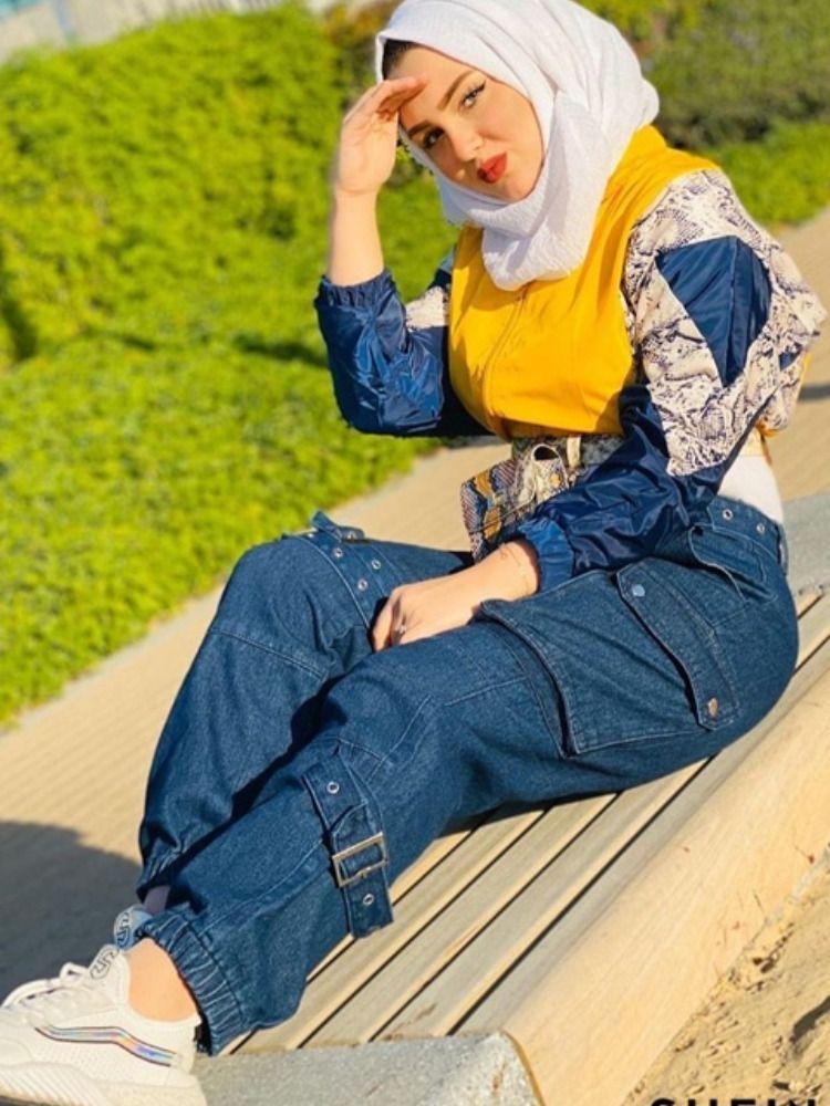 بنطلون جينز بتفاصيل مشبك وبجيب امامي رفرف Fashion Hijab
