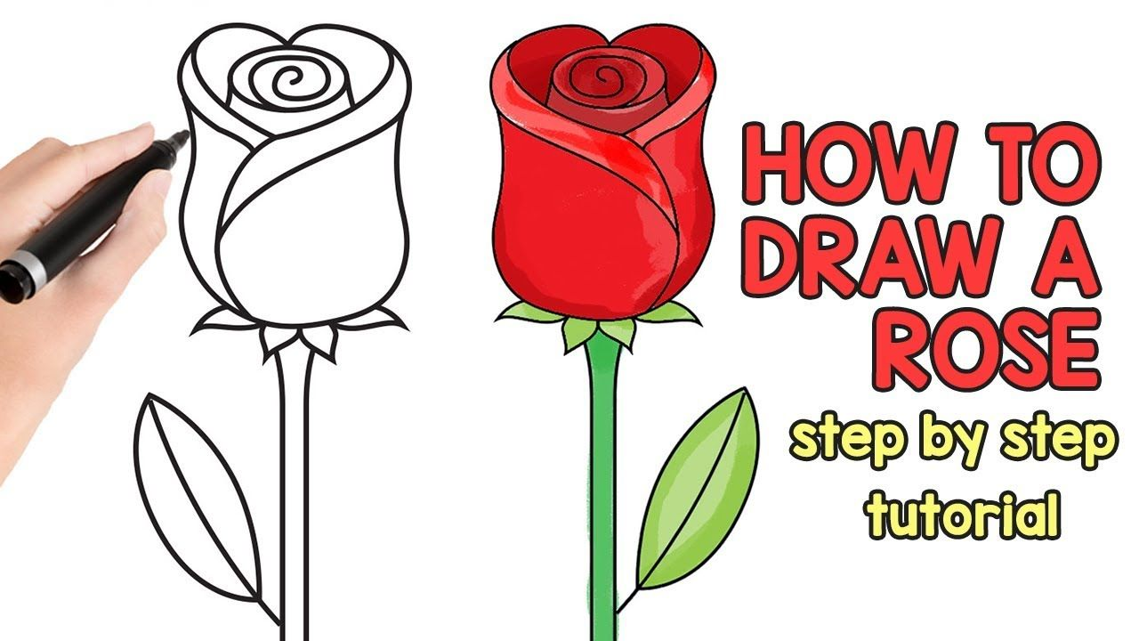 How To Draw A Rose Step By Step Drawing Tutorial In 2020 Rose Step By Step Rose Drawing Simple Step By Step Drawing