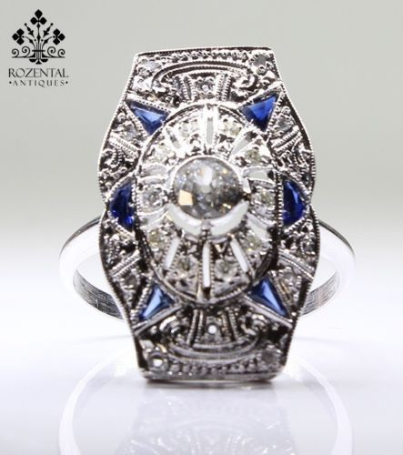 ANTIQUE ART DECO 18K WHITE GOLD DIAMOND & SAPPHIRE RING