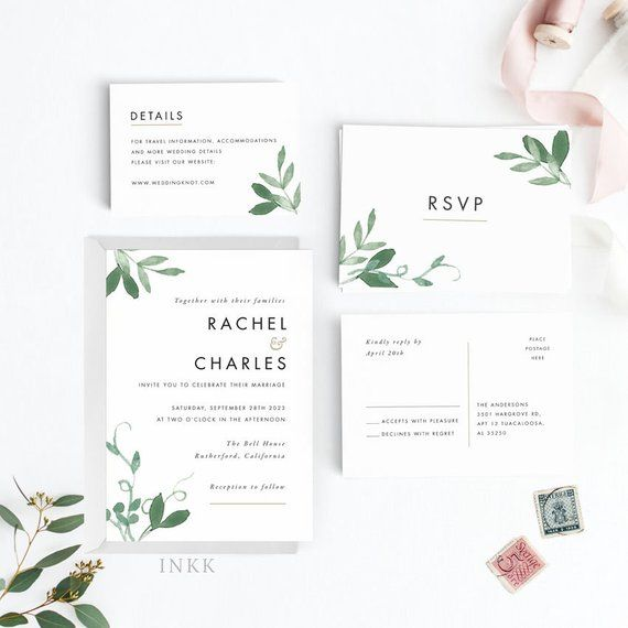 Printable Wedding Invitation Sets: Modern Botanical Wedding Invitation Suite, Wedding