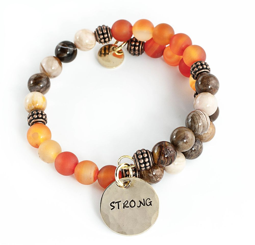 Strong beaded wrap bracelet carnelian and wood opaline carnelian