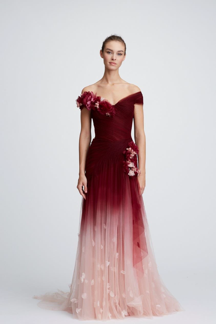 Marchesa couture off the shoulder ombre tulle gown m outfit