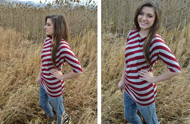 Striped Asymmetrical Top 56% off at Groopdealz