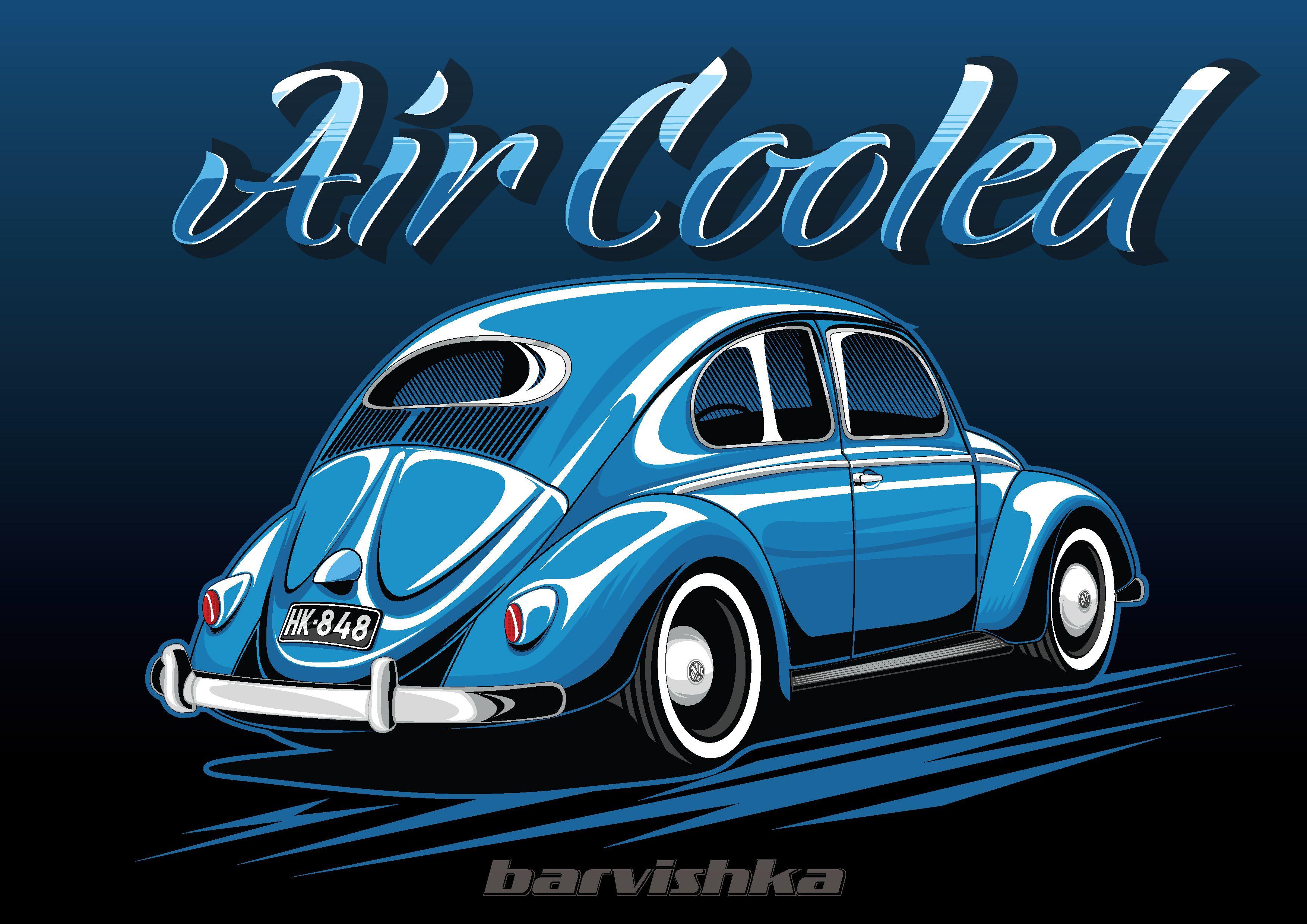Volkswagen Beetle Illustration Air Cooled Fusca