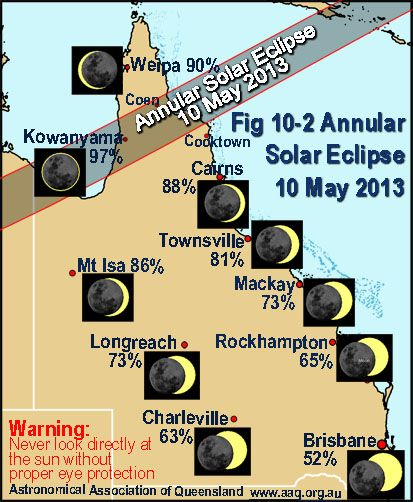 An annular solar eclipse will cross Cape York on the morning of 10 May 2013. The eclipse will start at sunrise in Western Australia; move over Northern Territory in the region of Tennant Creek and cross Cape York before heading out towards Papua New Guinea and the Pacific Ocean.
