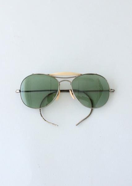 ddbd26393bdfc Vintage 1940s Green Glass Aviator Sunglasses