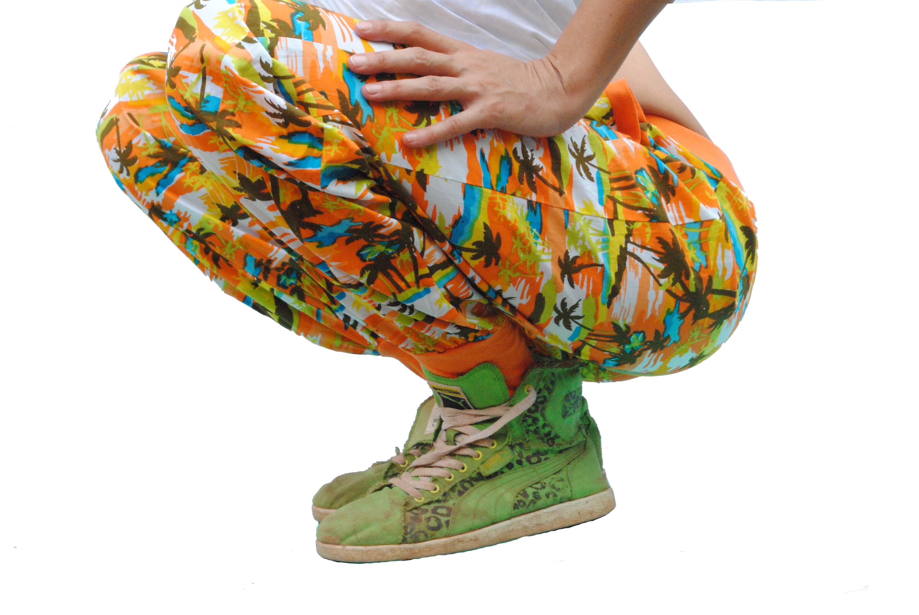 Trainer Pants - Palm tree print with orange jersey.