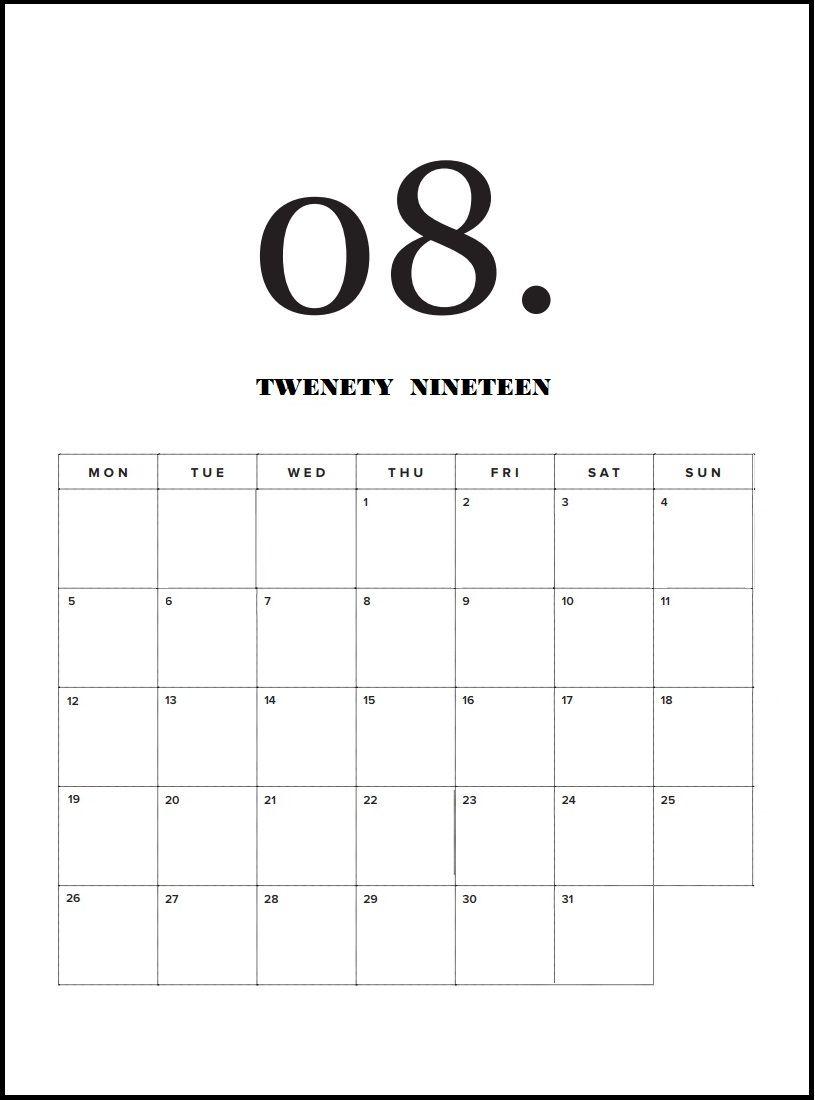 Modern Minimal 2019 Monthly Calendar Shablony Dlya Pechati Kalendar
