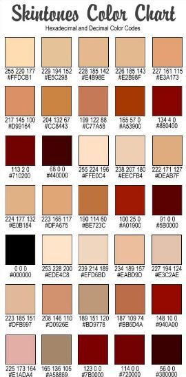 Jilliene Designing Rgb Codes For Hair And Skin Skin Color Palette Rgb Color Codes Colors For Skin Tone