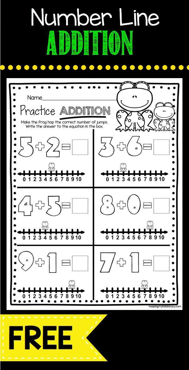 Freebie Addition Worksheet Using Number Lines Kindergarten Common Core Math Worksheets Kind Addition Kindergarten Algebraic Thinking Kindergarten Math Units