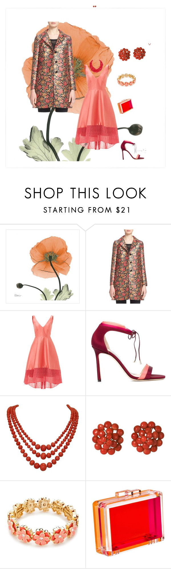 """""""Coral and Red"""" by kitty-hiruma on Polyvore featuring Etro, ML Monique Lhuillier, Jimmy Choo, Napier, CC SKYE and Humble Chic"""