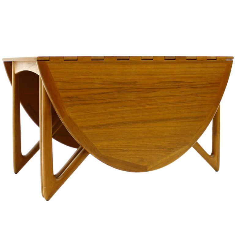 Kurt Ostervig Drop Leaf Teak Dining Table For Jason Mobler Ca1965