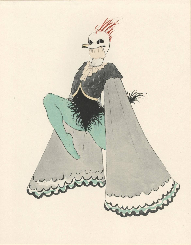 Walter Schnackenberg Ballet Und Pantomime Spukgestalt Ghostly Figure Plate 12 Figurative Prints Native American Shaman Ballerina Sketch