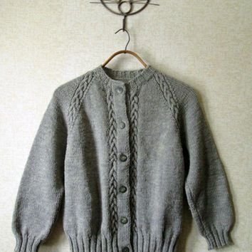 Hand Knit Cardigan vintage 60s sweater wool cable knit button up sweater  grey heather mad men style womens cardi small medium 7ec055055