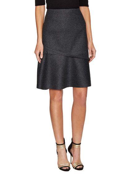 Wool Asymmetrical Flared Skirt by Carolina Herrera at Gilt
