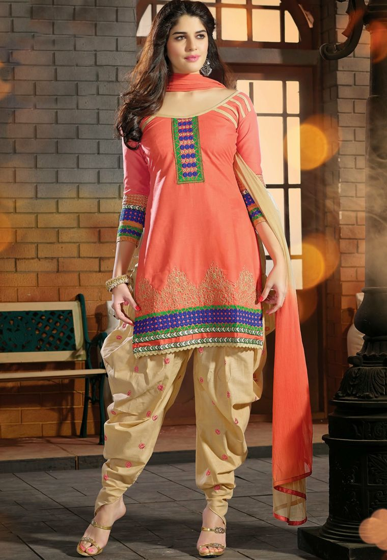 4aa9d2b3cc A dazzling Peach & Cream Color Cotton Designer Patiala Salwar Kameez  featuring a richly embroidered yoke, sleeves