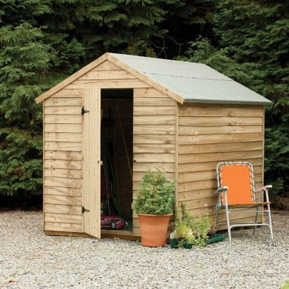 8x6 Pressure Treated Overlap Wooden Shed Without Windows - Home