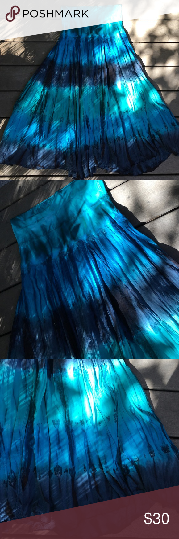 NWT hippie gypsy tie dye skirt Super cute colors of teals and blues, high waisted or fold over waistband Skirts Maxi