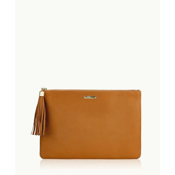 1a3886a173c5 Leather Totes. Hand Bags. Gigi New York Uber Clutch In Tan Pebble Grain  ( 190) ❤ liked on Polyvore