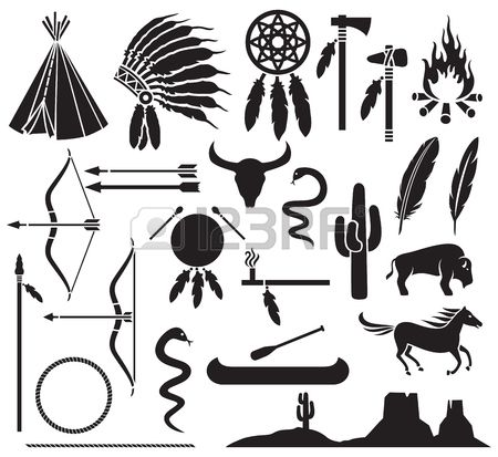 46728399 Native American Indians Icons Set Bow And Arrow Snake Horse Bison Cactus Tomahawk Axe Campfire L Native American Indian Arrows Native American Artwork