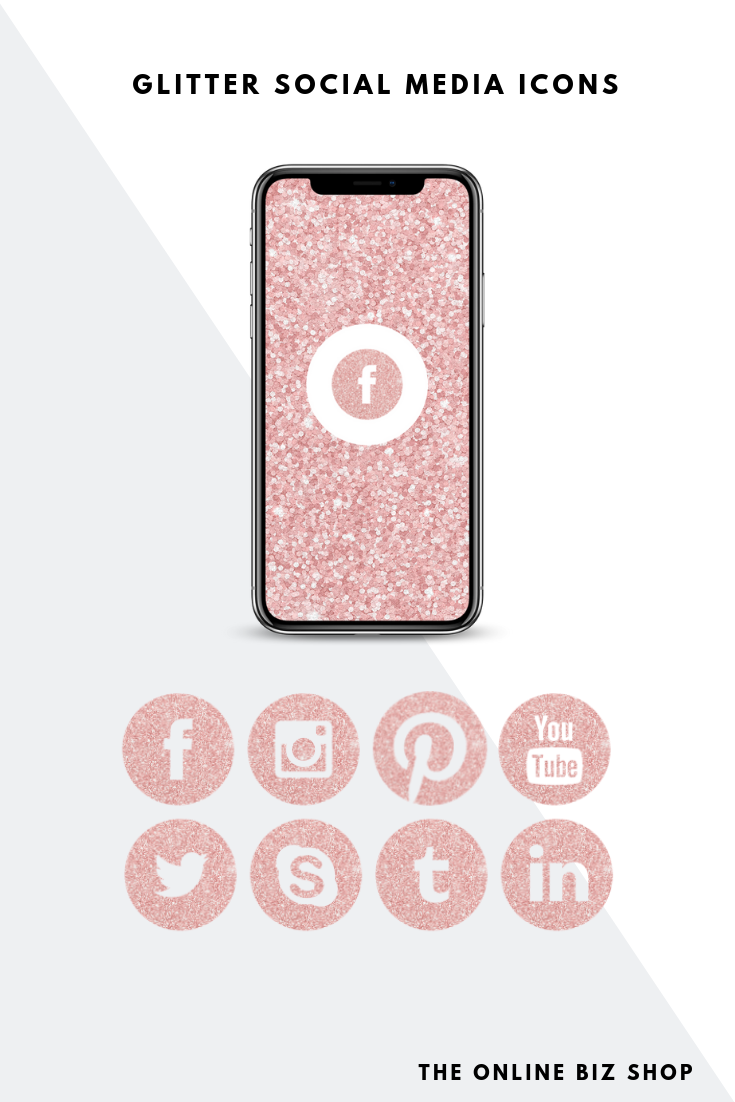 Light Pink Glitter Social Media Icons, Facebook