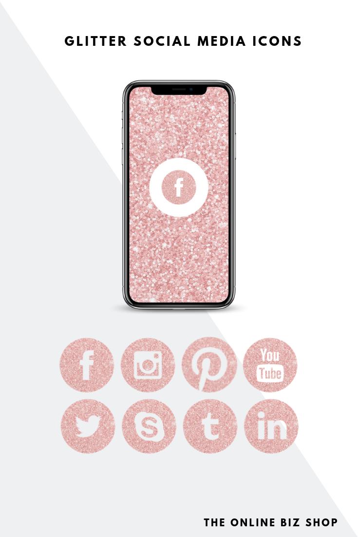 Light Pink Glitter Social Media Icons Facebook Instagram Clipart For Business Branding In 2020 Social Media Icons Pink Twitter Media Icon