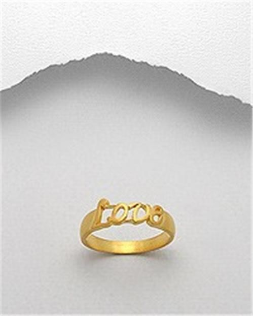 STERLING SILVER 14K GOLD VERMEIL ALOHA ISLAND LOVE SOLITARE PROMISE RING SIZE 6