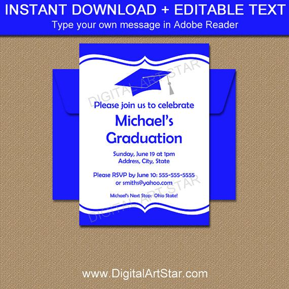 Graduation invitation template download printable high school royal blue and white graduation invites by digitalartstar on etsy filmwisefo