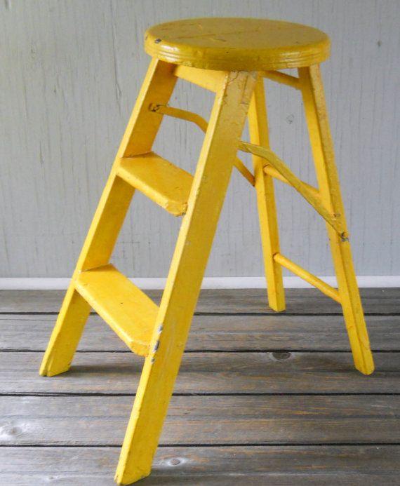 Vintage Folding Step Ladder Stool Yellow By Lisabretrostyle2 40 00