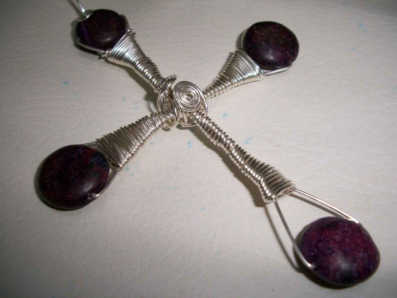 Wire Wrapped Stones   Purple Stone Cross Wire Wrap Pendant 541w by ...