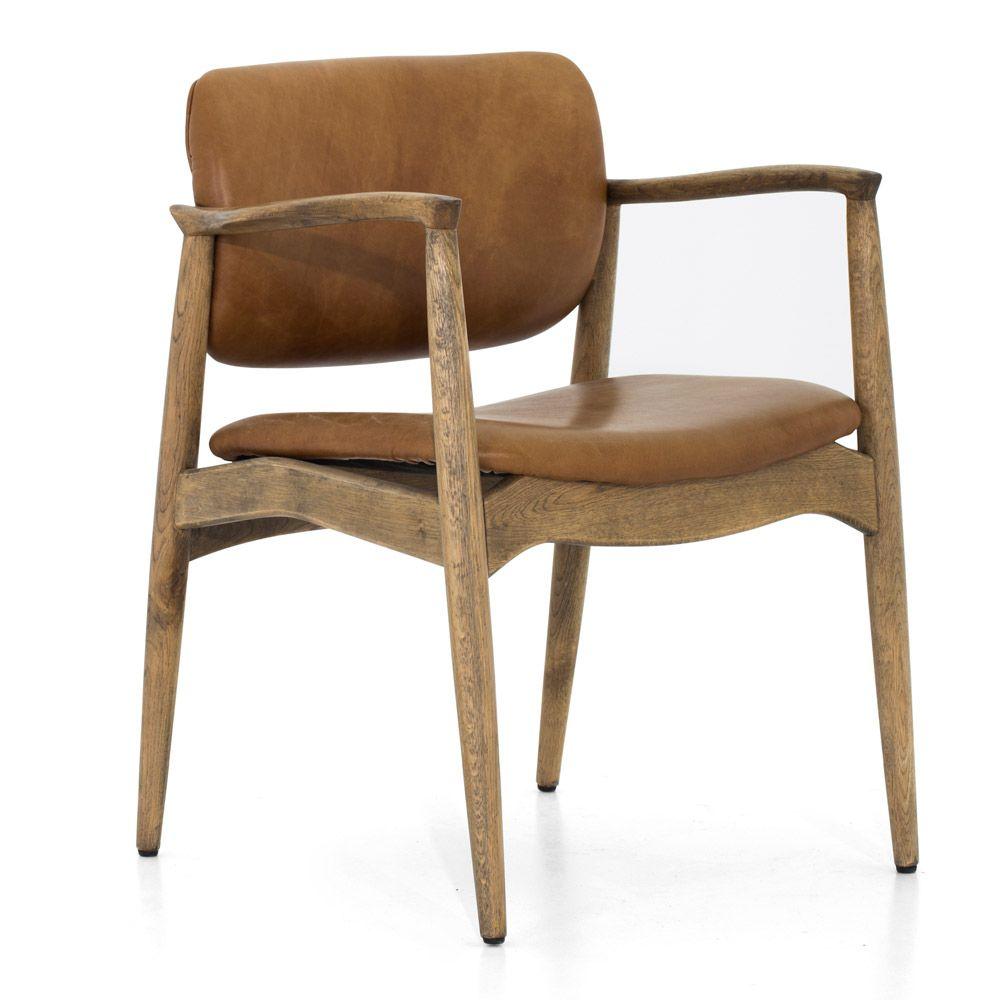 LEROSS chaise vintage en cuir avec chêne antique   Flamant