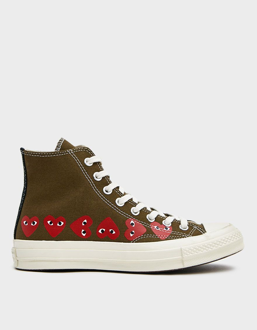 Details about CONVERSE Shoes Comme Des Garcons PLAY Hi Top CDG Chuck Taylors USA Men 7 Women 9