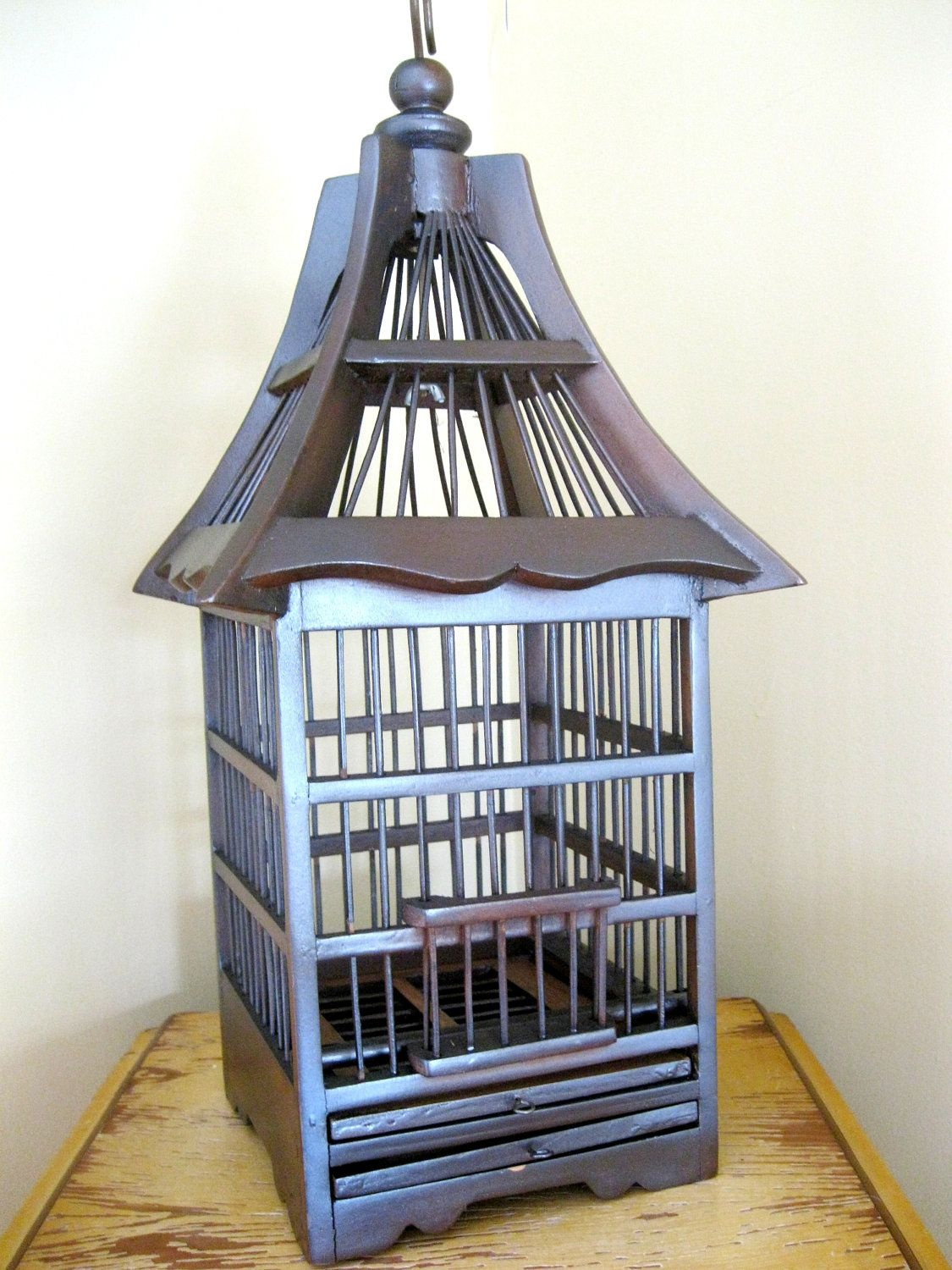 vintage wooden birdcage, shabby cottage chic, metallic brown