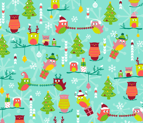 Christmas Owls fabric by abby_zweifel on Spoonflower ...