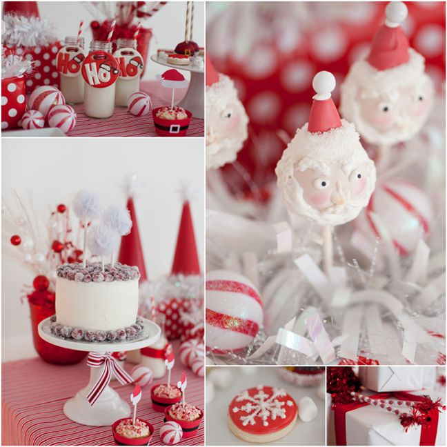 White Christmas Party Theme Ideas Part - 26: Adorable Red And White Santa Christmas Party Complete With Santa Cookies,  Santa Decorations And Lots Of Christmas Party Inspiration!