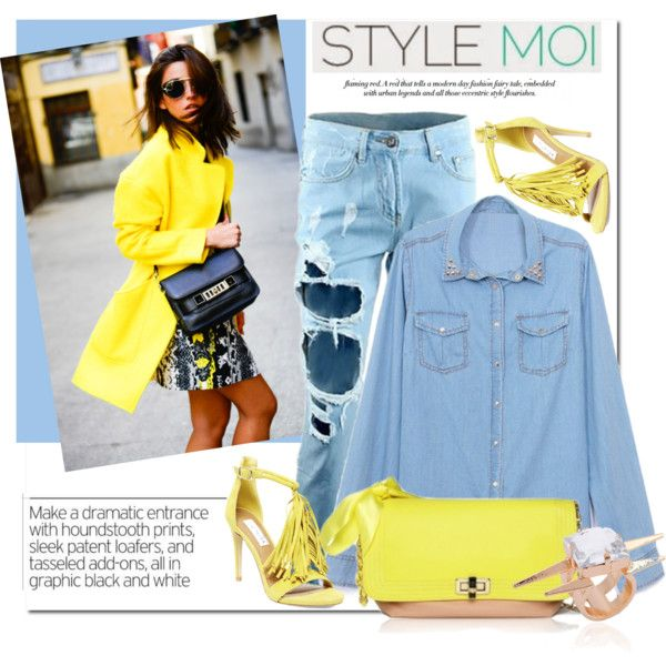 Yellow Pieces by stylemoi-offical on Polyvore featuring polyvore fashion style Steve Madden