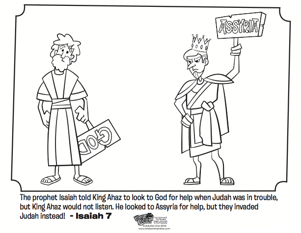 Kids Coloring Page From Whats In The Bible Featuring Isaiah And King Ahaz