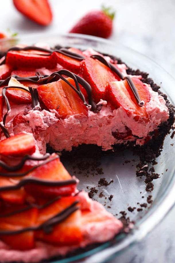 No Bake Chocolate Strawberries and Cream Pie