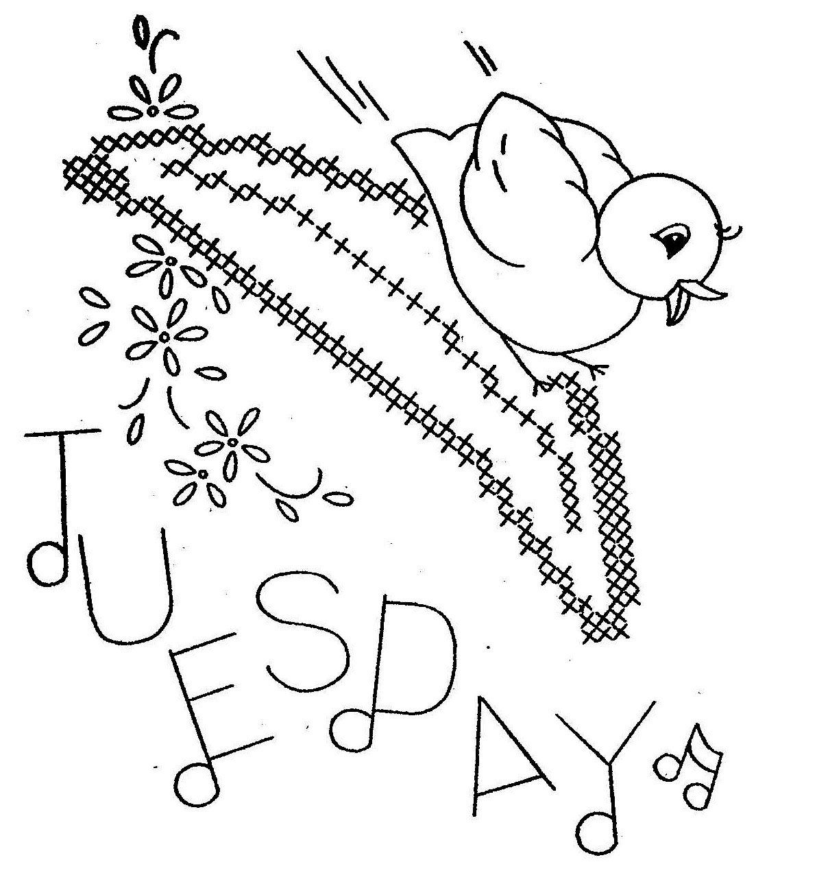 Hand Embroidery Pattern 3067 Birds Fruit for Days of the Week Towels ...