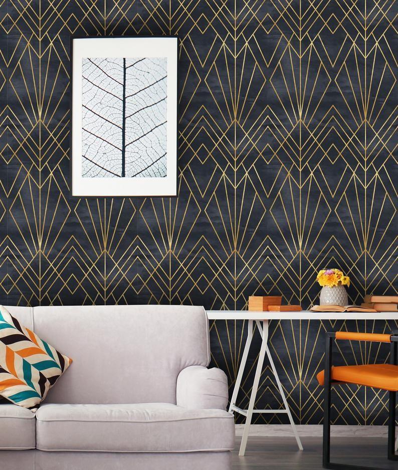 Papier Peint Geometrique Style Art Deco Etsy Transform Your Plain Walls Into A Painterly Masterpiece With Our Peel N Stick Wallpaper Wall Deco Textured Walls